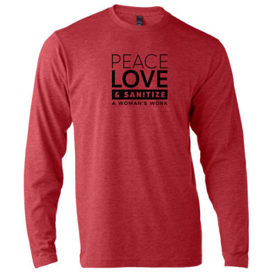 Peace, Love & Sanitize - Unisex Poly-Rich Long Sleeve Tee Thumbnail