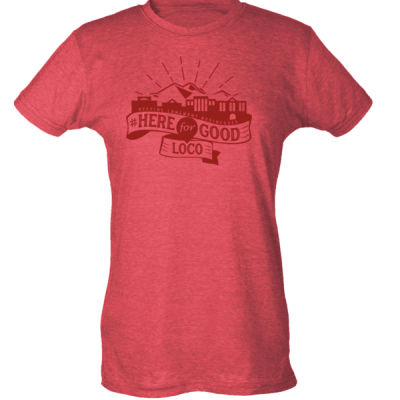 Here for Good LoCo (Red) - Ladies Slim Fit Poly-Rich Tee (H4G) Thumbnail
